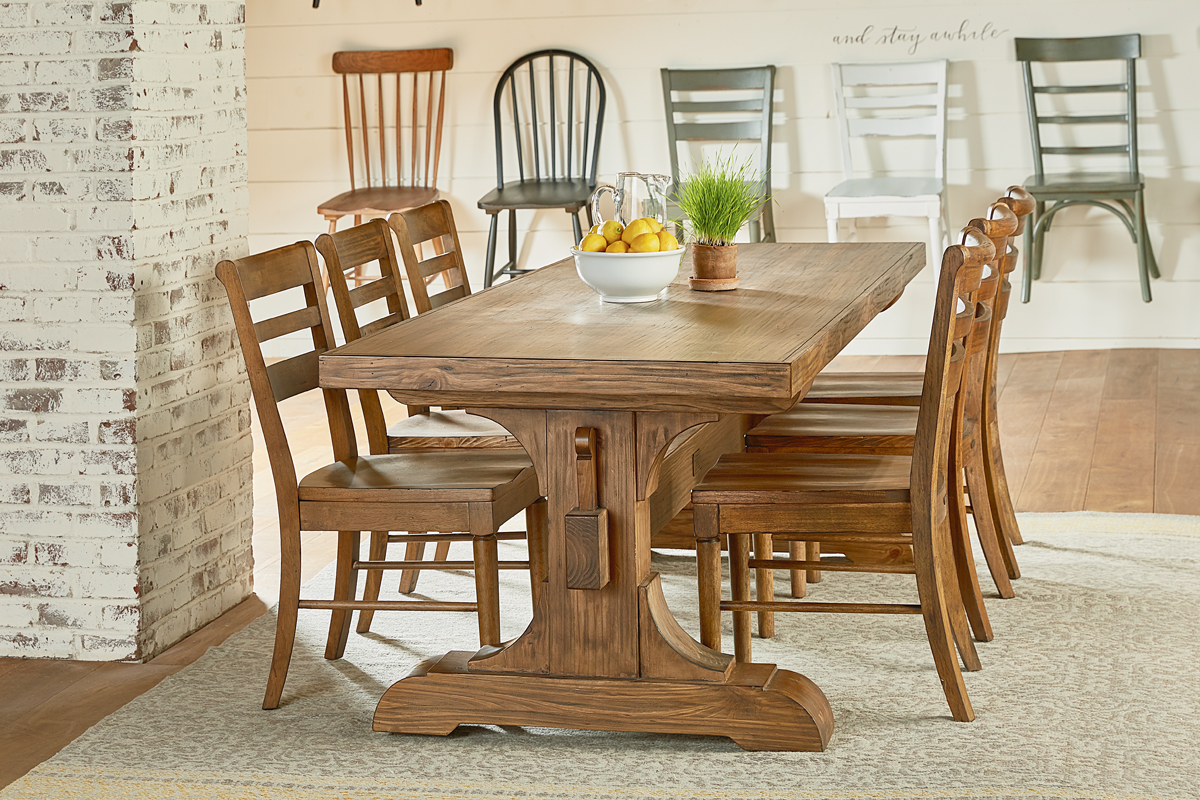 farmhouse dining table keyed trestle + kempton ELMYTUB