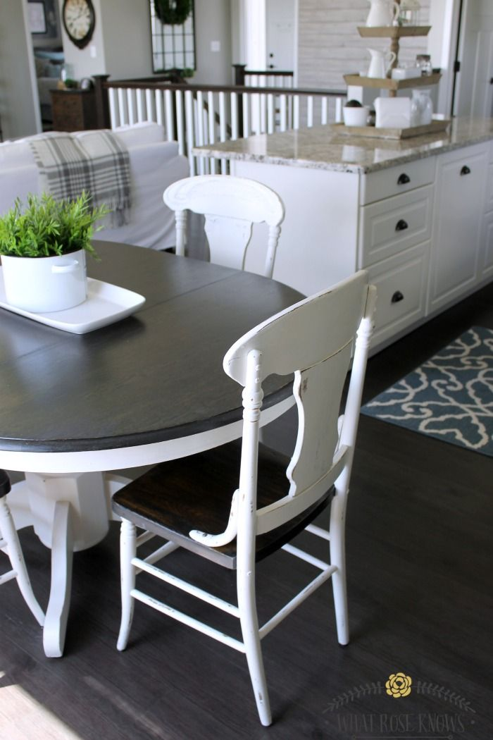 farmhouse style painted kitchen table and chairs - chalk paint was GBXQGHA