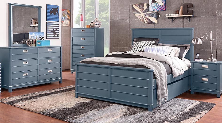 full bedroom sets bay street blue 5 pc full panel bedroom - teen bedroom SNOQLAK