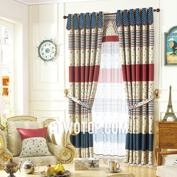 fun beautiful blackout striped beige red and dark blue nautical curtains ZVUTDPO