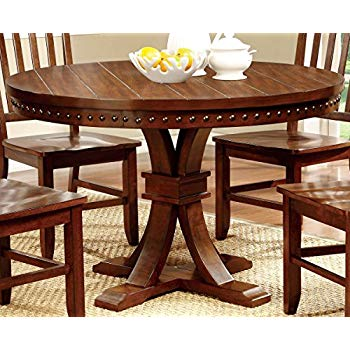 furniture of america castile transitional round dining table, dark oak ESCAEHM