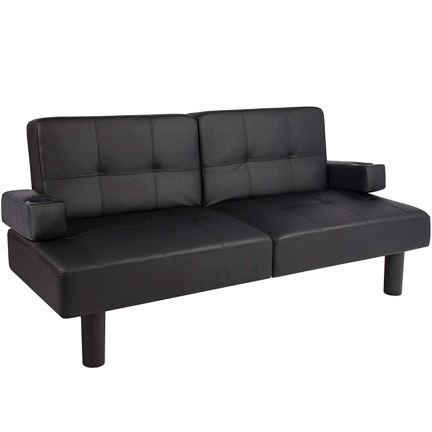 futon couch amazon.com: best choice products leather faux fold down futon lounge JBIGYGQ