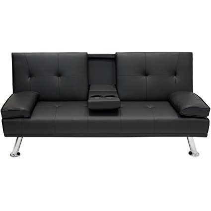 futon couch best choice products modern faux leather futon sofa bed fold up ZXXJIAG