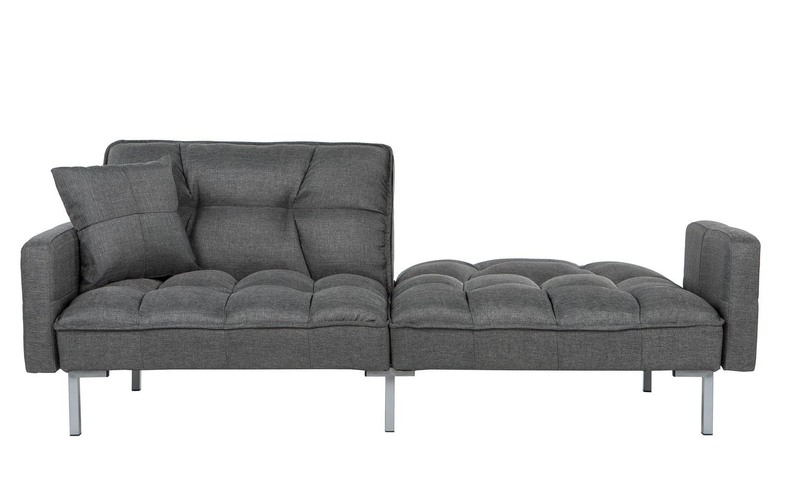 futon couch ... verne modern linen plush futon in dark grey one backrest CDQEUUG