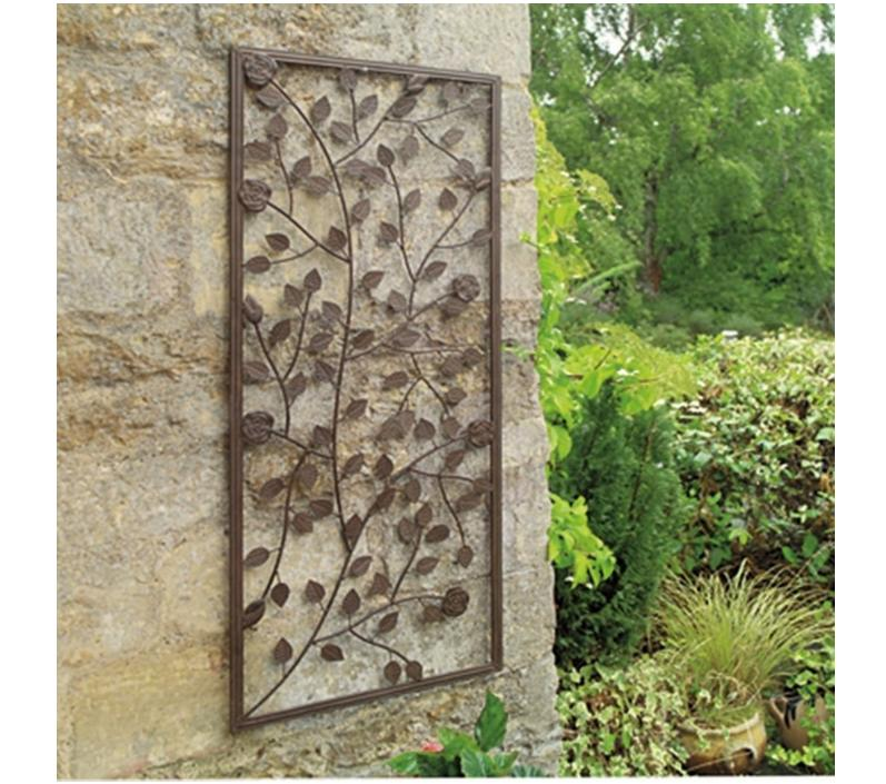 garden wall art garden climbing rose wall art panel ornamental bronze painted steel SQCIUOR