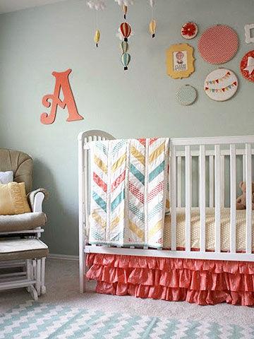 girl nursery ideas crib with pink ruffled crib skirt PKIIUOZ