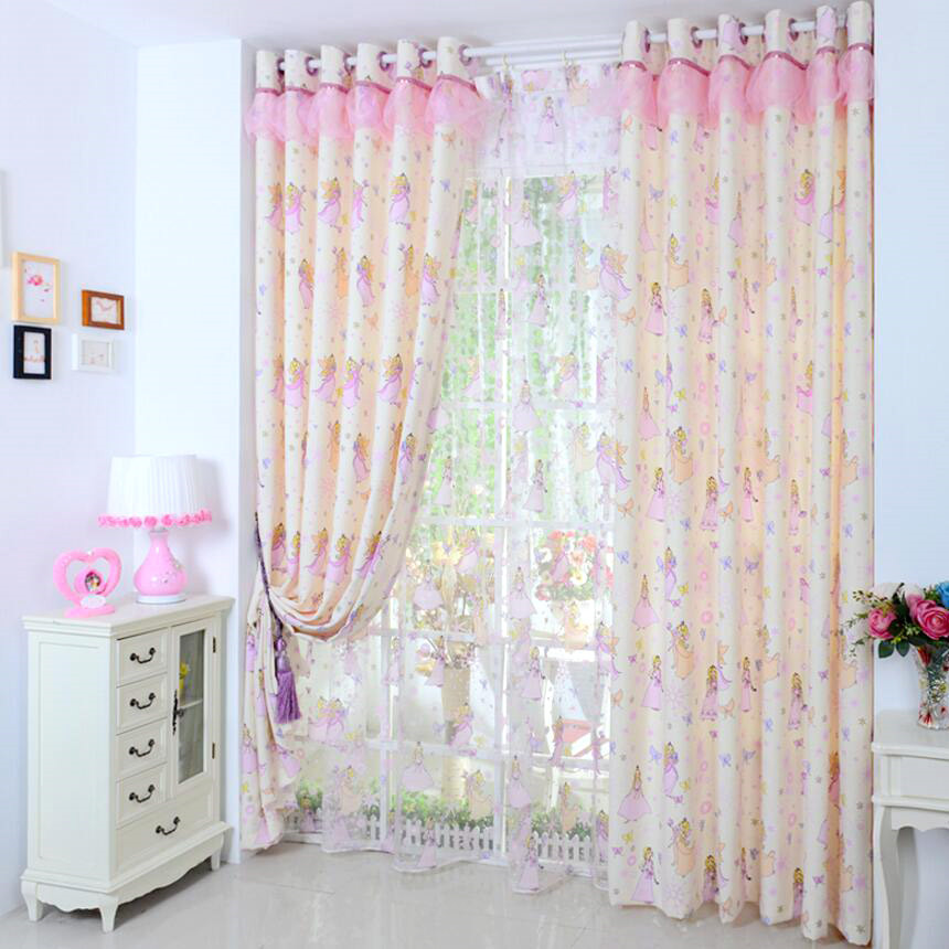girls curtains girls pink princess cartoon cotton half blackout kids curtains(no valance) DSYPUIQ