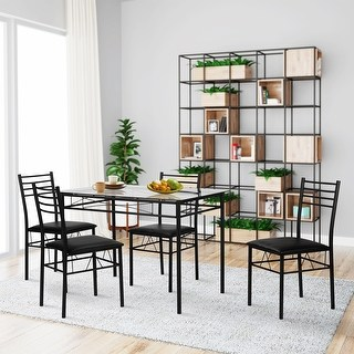 glass dining room table vecelo dining table set, glass table and 4 chairs metal kitchen FVUKJUT