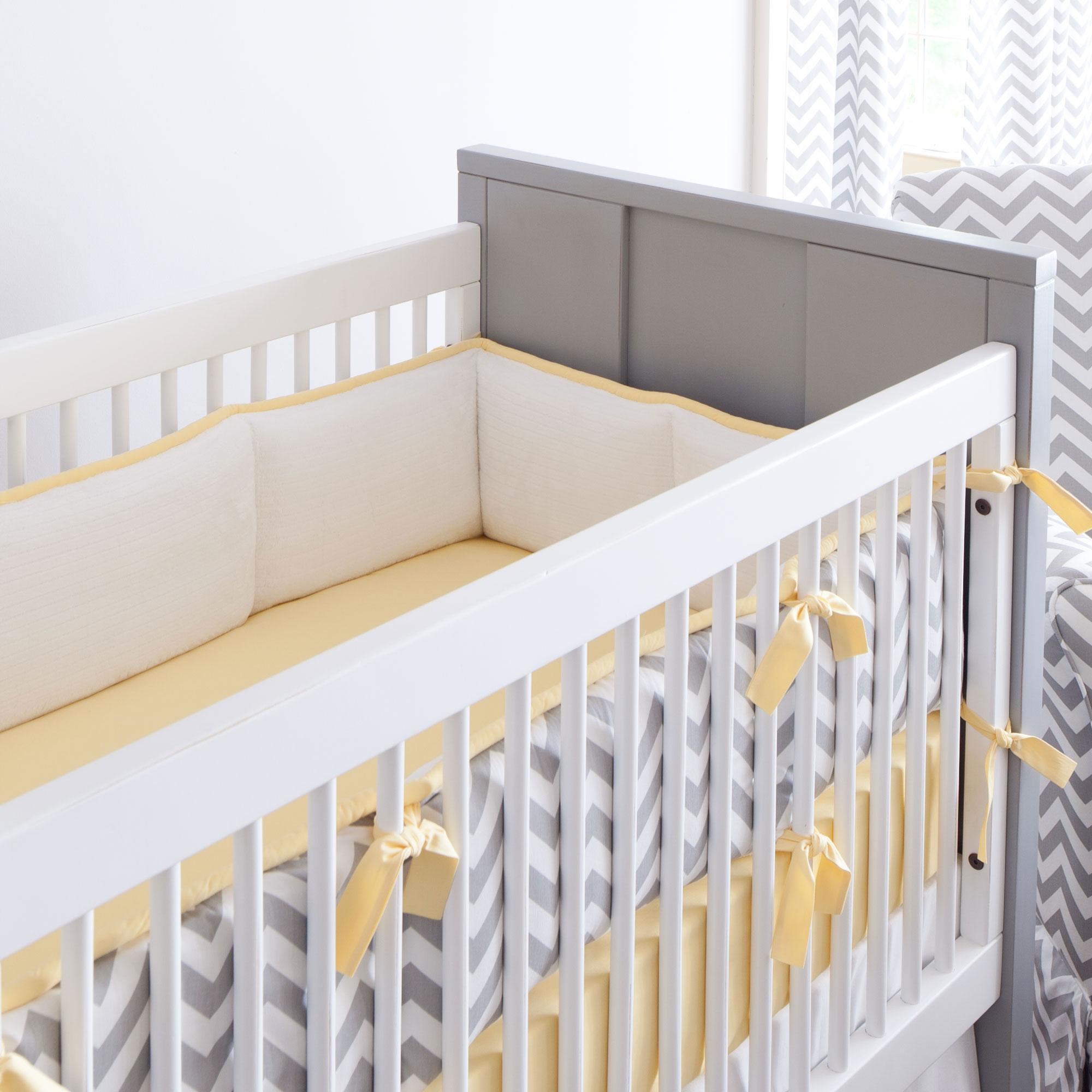 gray and yellow zig zag crib bumper LHPDZLS