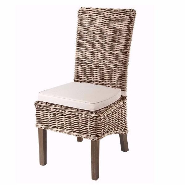 grey wash rattan dining chairs with cream cushion (pair) - modish DHNJJTN