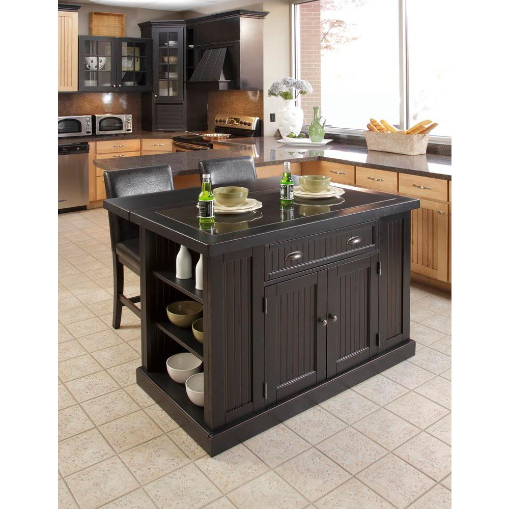home styles nantucket black kitchen island with granite top RDXDKMJ