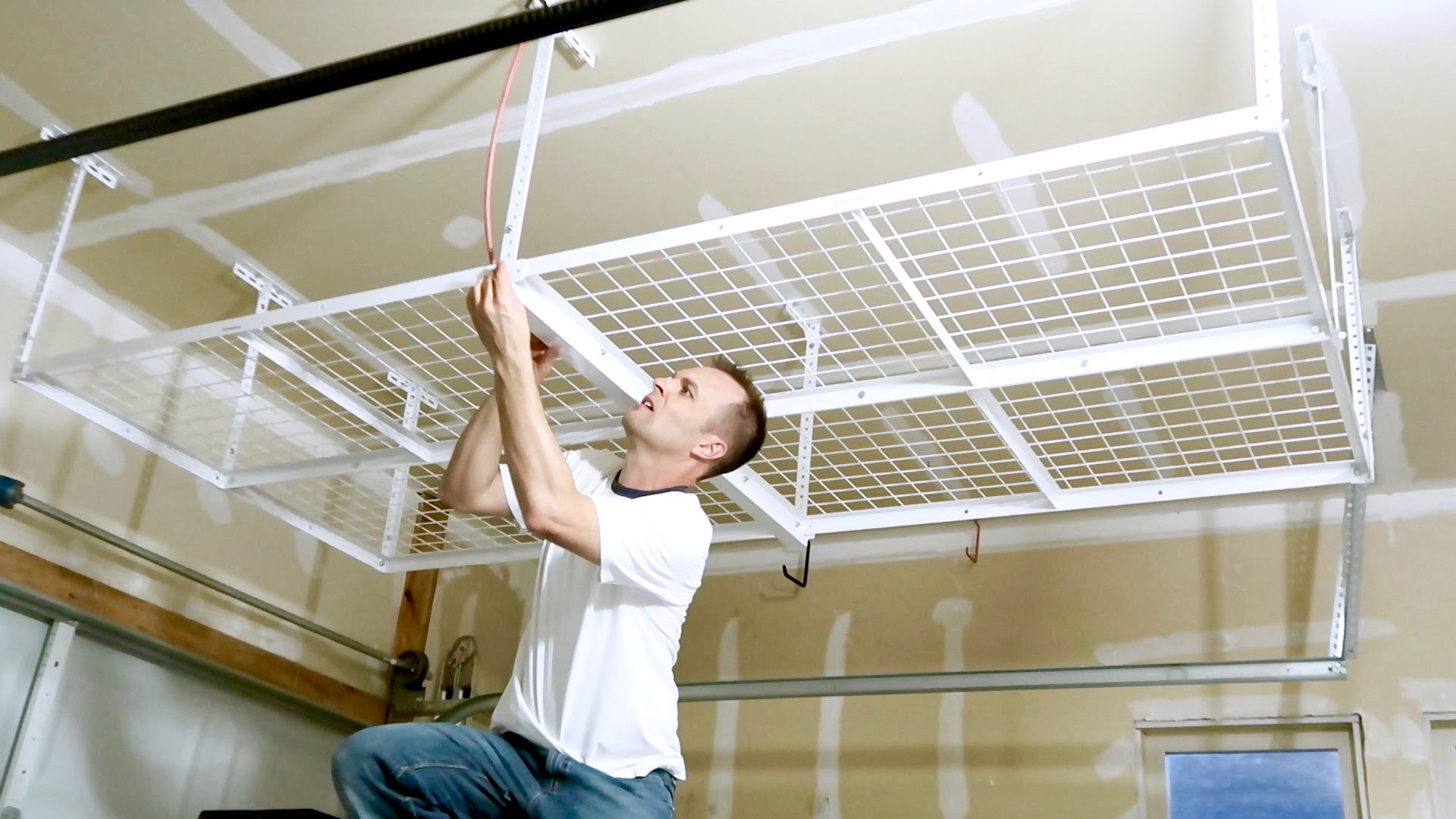 how to install a overhead garage storage rack - ceiling mount JTGHKGD