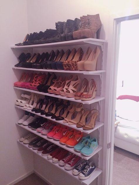 ideas how to create diy shoe closet shelves OKTCNIA