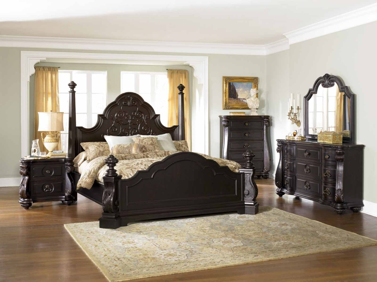 image of: black vintage bedroom furniture UBTLQMD