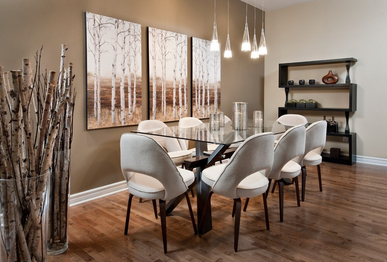 impressive dining room wall decor with brown paint and modern wall VAZWGAX