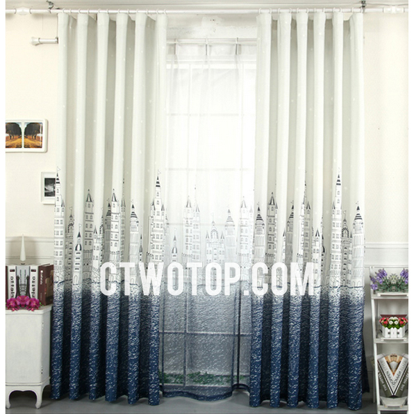 ivory and dark blue modern ready made insulated nautical curtains EPXOXEH