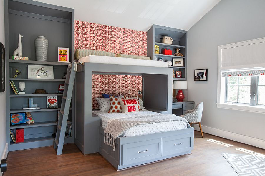 kids bedroom cool gray boys bedroom design and custom bunk bed with shelves XPTNVIL