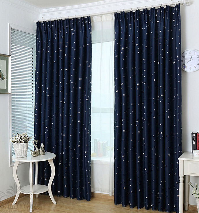 kids blackout curtains eco-friendly blackout navy star printing kids room curtains GYQMRHJ