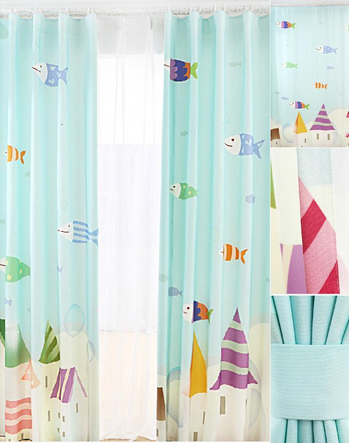 kids blackout curtains lovely fish teal color blackout nursery curtains for kids CHYTGZV
