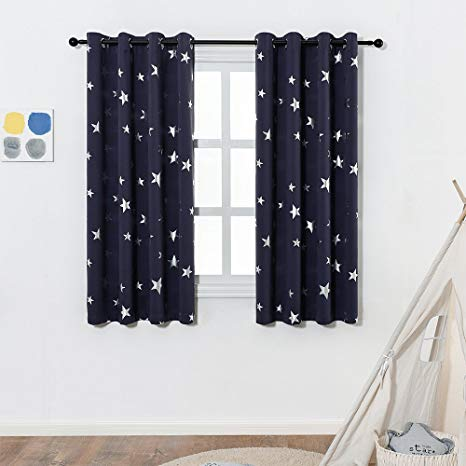 kids blackout curtains navy blue star print blackout curtains for kids room (2 panels), LLSWQLK