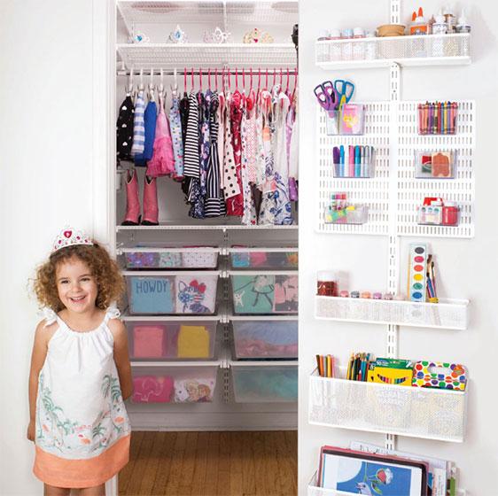 kids closet white elfa kidu0027s closet with utility door u0026 wall rack CPMUJKW