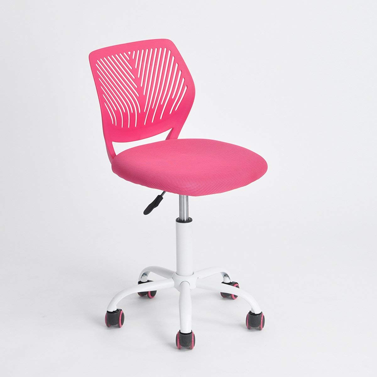 kids desk chairs amazon.com: pink office task adjustable desk chair mid back home children VZFBJFN