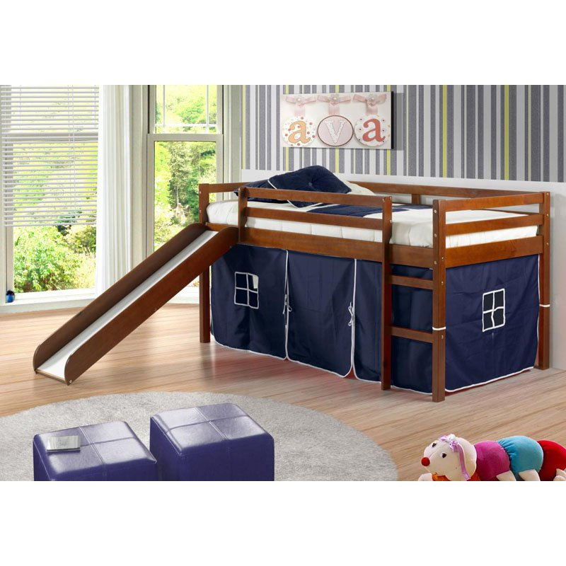 kids loft bed donco kids twin loft tent bed with slide - light espresso EGSNMWH
