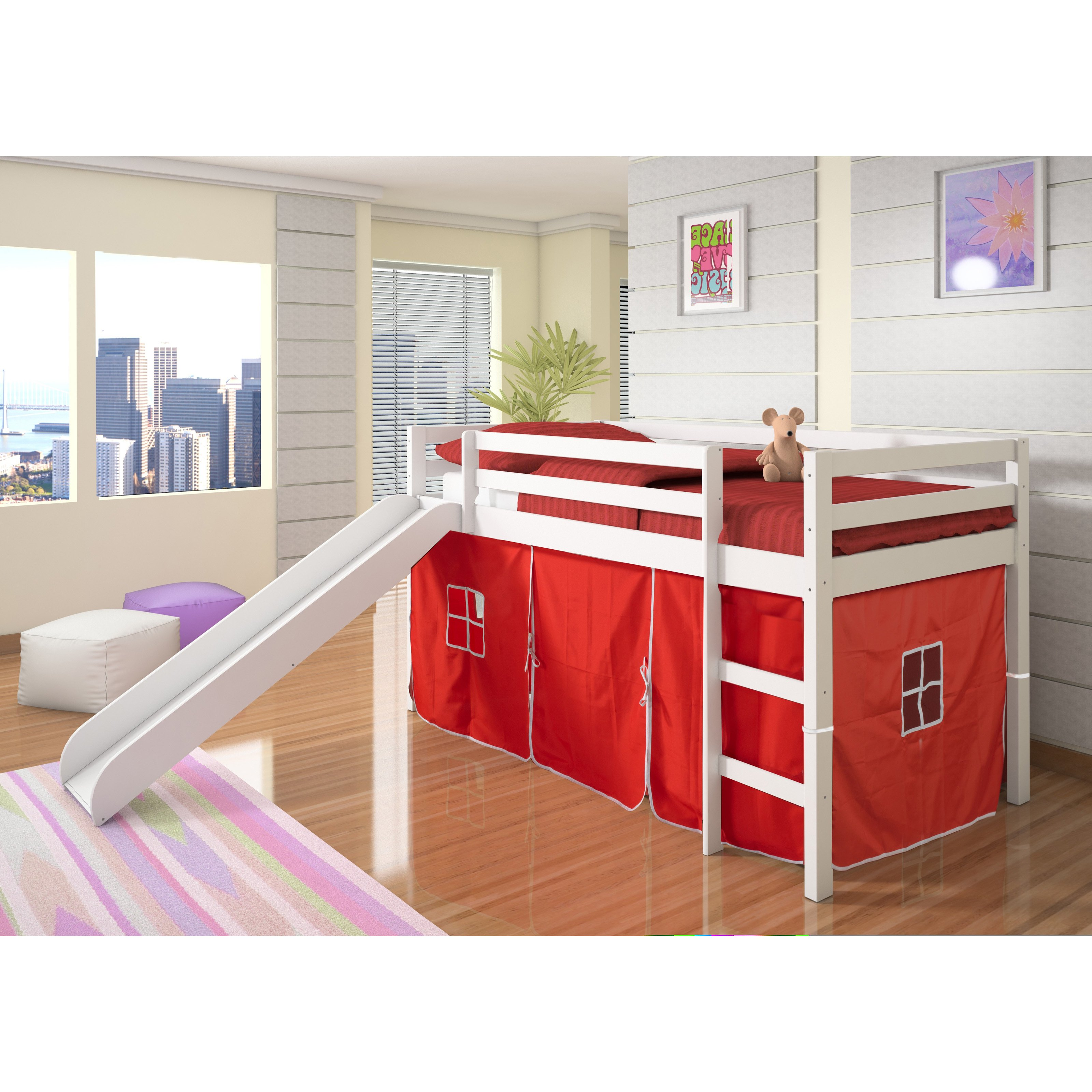 kids loft bed donco kids twin loft tent bed with slide - white - EFVHNII