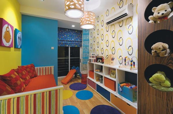 kids playroom ideas view in gallery colorful wallpaper idea for kidsu0027 playroom FGKNQVQ