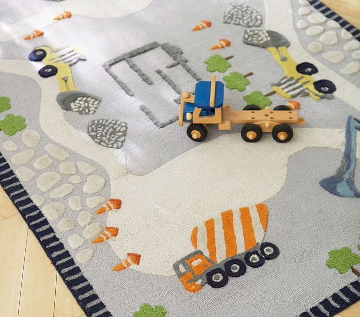 kids rug construction rug | pottery barn kids LAEMGAW