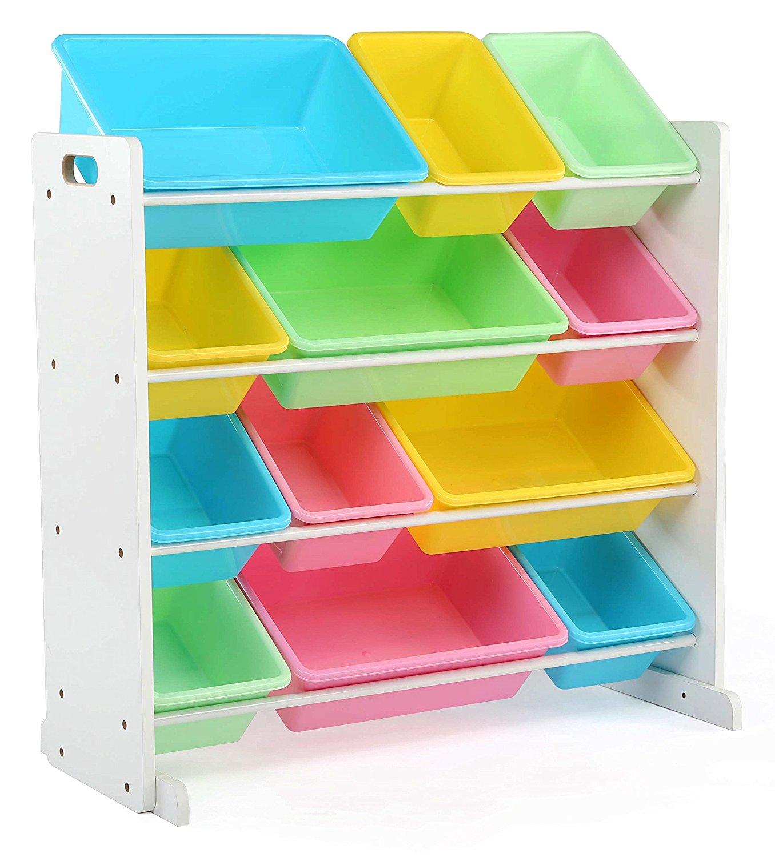 kids toy storage amazon.com: tot tutors kidsu0027 toy storage organizer with 12 plastic bins, HYARWCY
