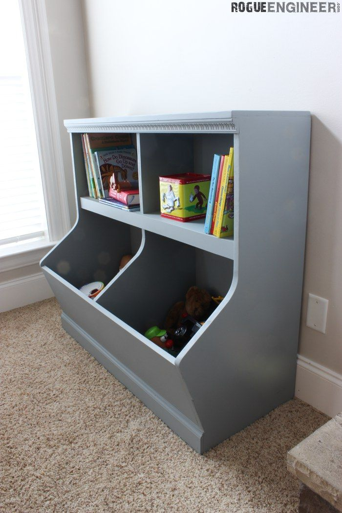 kids toy storage bookcase with toy storage - free u0026 easy plans | rogueengineer.com KVACFTW