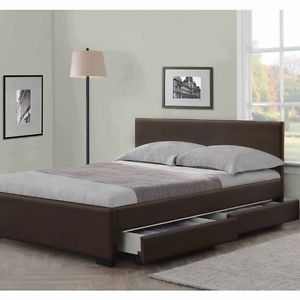 king size bed image is loading 4-drawers-leather-storage-bed-double-or-king- WMUYOKE