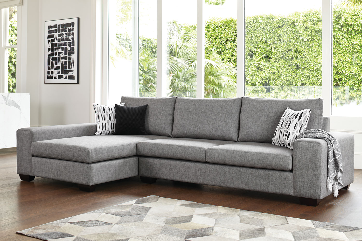 kingdom 4 seater fabric sofa with chaise by furniture haven ... LZHEUQS