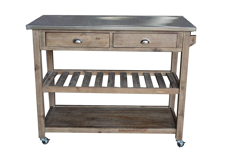 kitchen carts amazon.com - boraam 98520 sonoma wire-brush kitchen cart - kitchen islands EBWGIHA