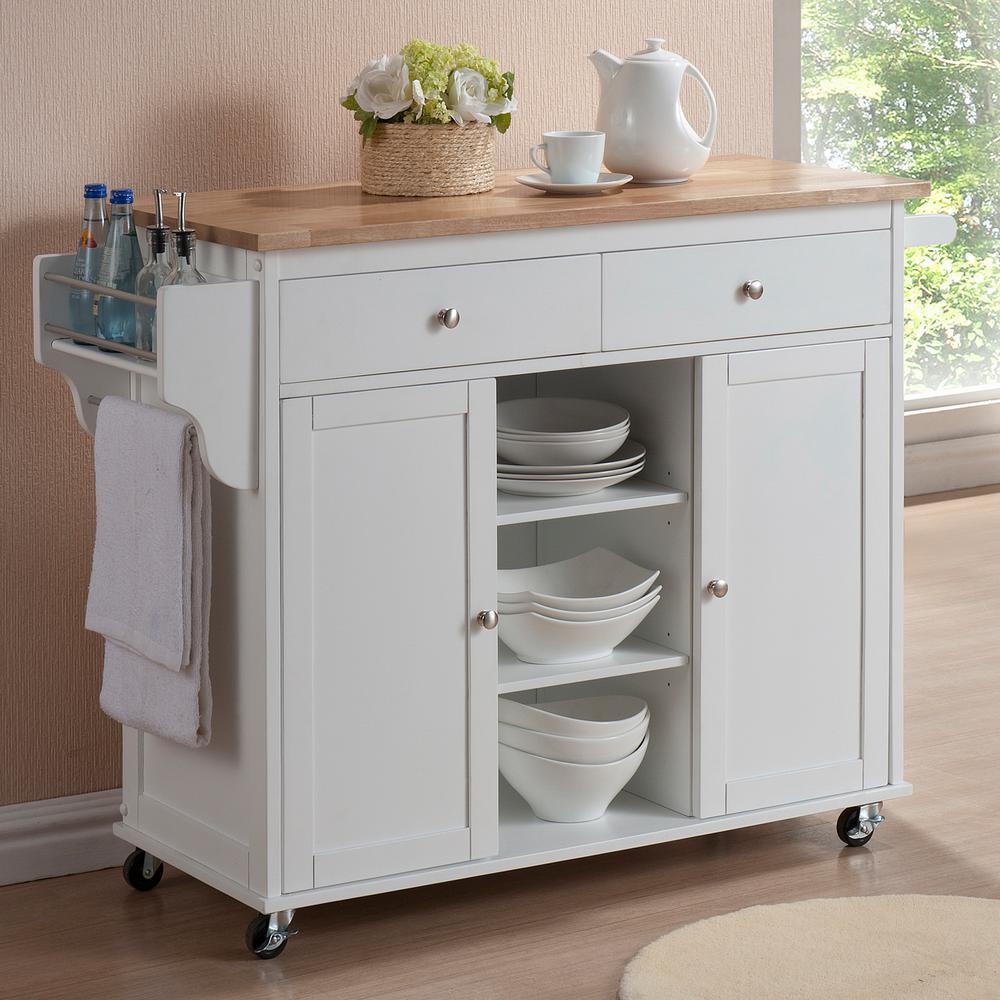kitchen carts baxton studio meryland white kitchen cart with storage IAEFUPF