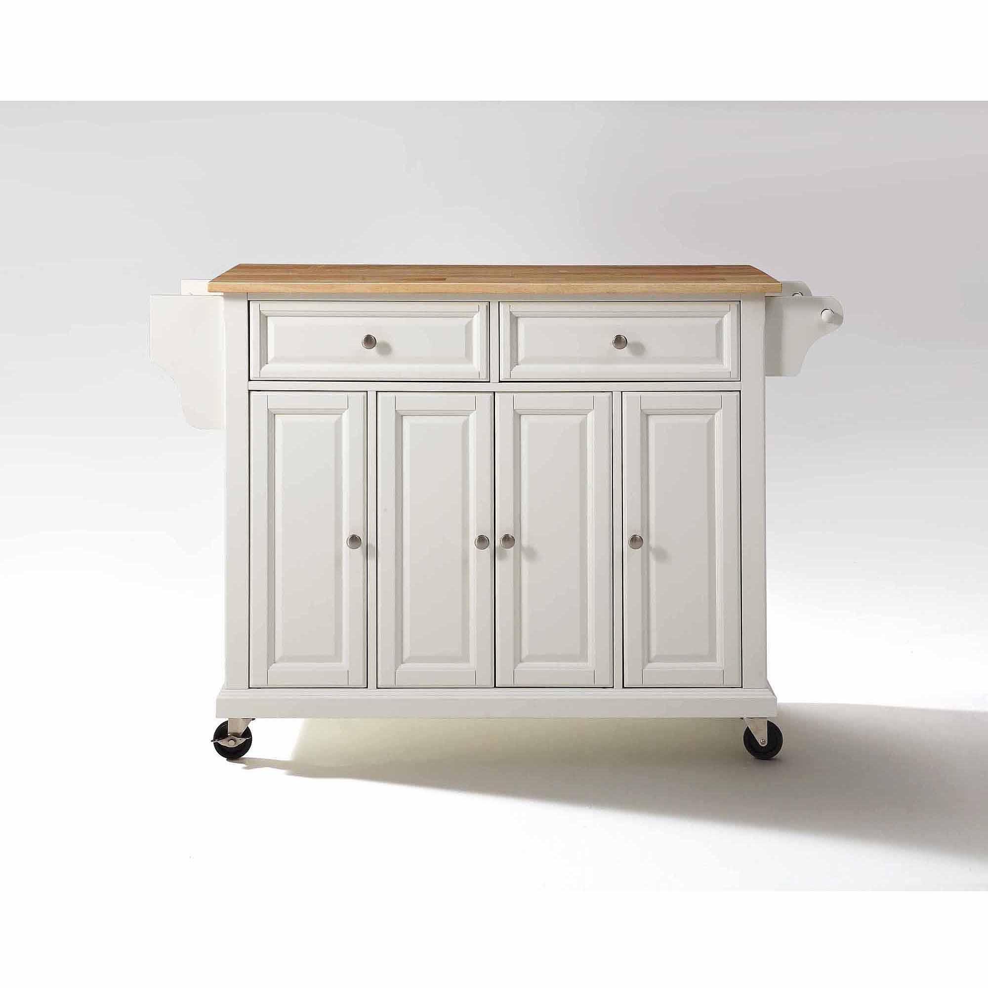 kitchen carts crosley furniture natural wood top kitchen cart - walmart.com OXMMJJL