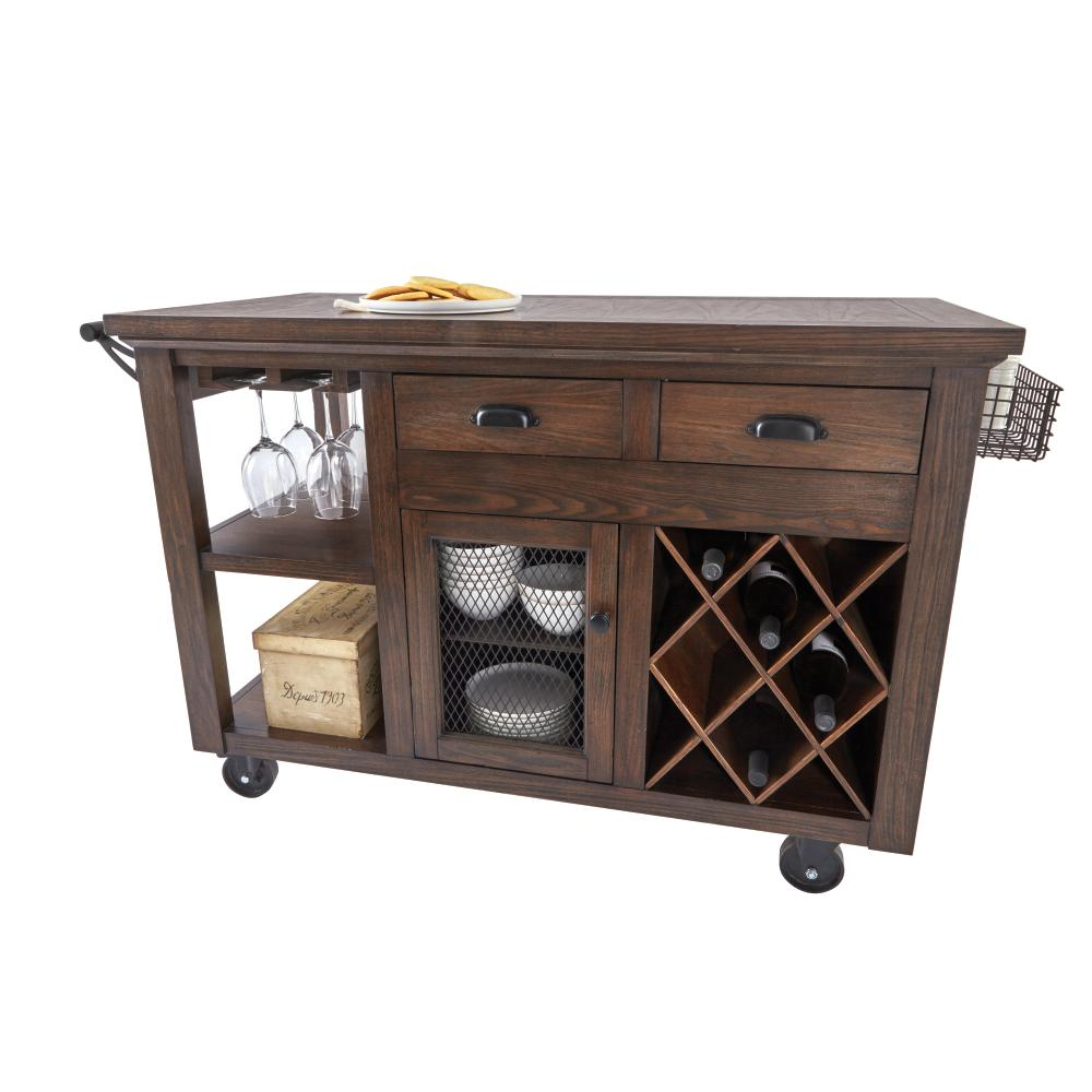 kitchen carts home decorators collection cooper rustic walnut kitchen cart with storage LHPVOCY