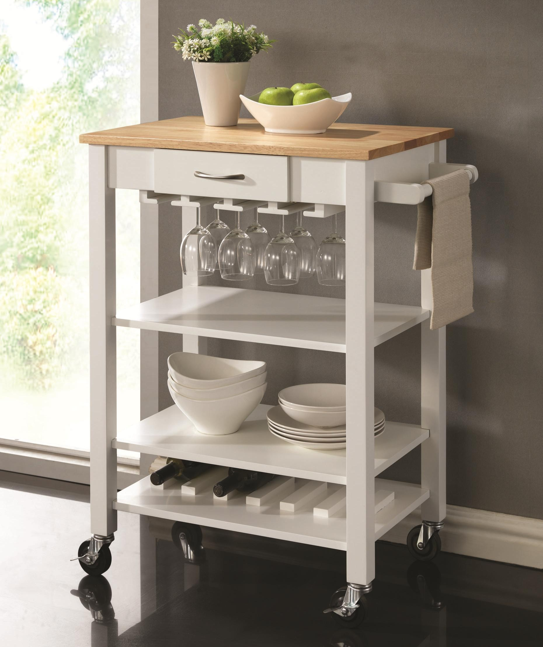 kitchen carts white/natural kitchen cart with butcher block top by coaster BPQQFYT