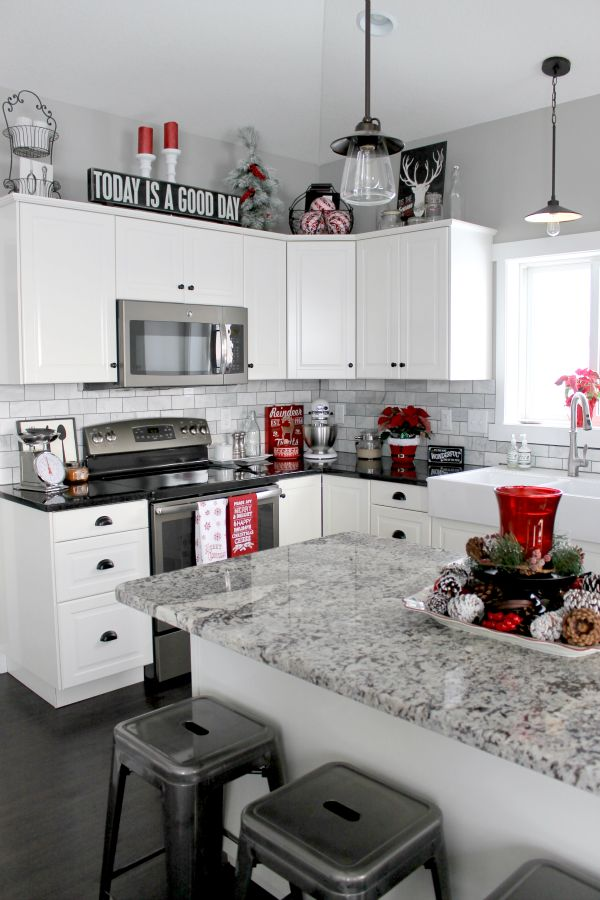 kitchen decorations christmas home tour 2015 | red black, plaid and check APEPEKJ