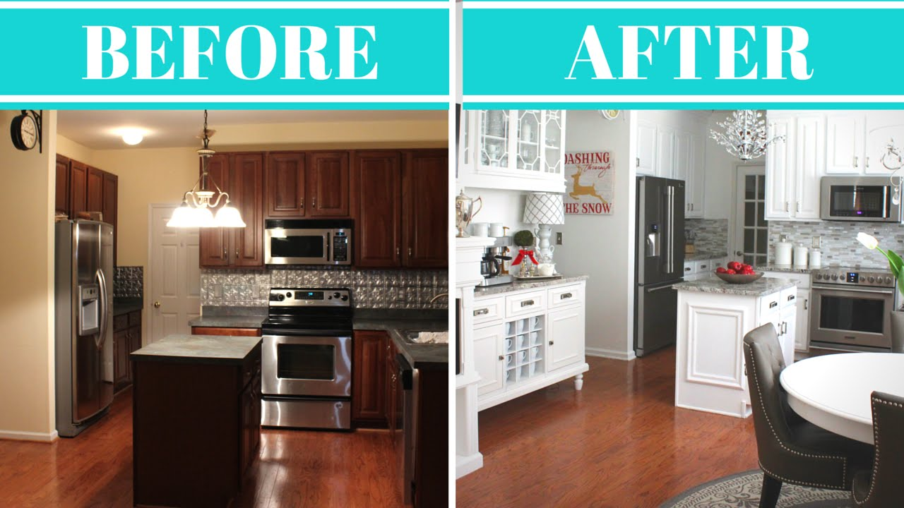 kitchen makeovers kitchen makeover reveal u0026 tour | before u0026 after - youtube RQUYNCI