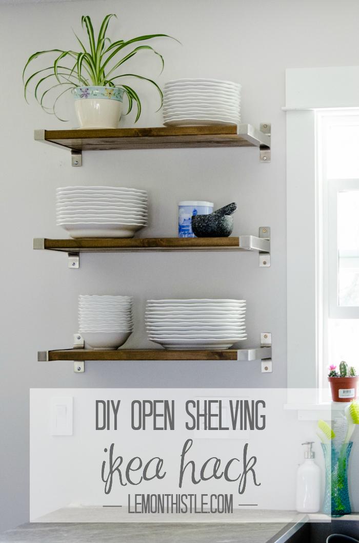 kitchen shelves diy open shelving - ikea hack - lemonthistle.com DTBHUQZ