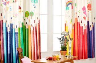 korean style kids curtains cartoon colorful pencils print EAYIGIU