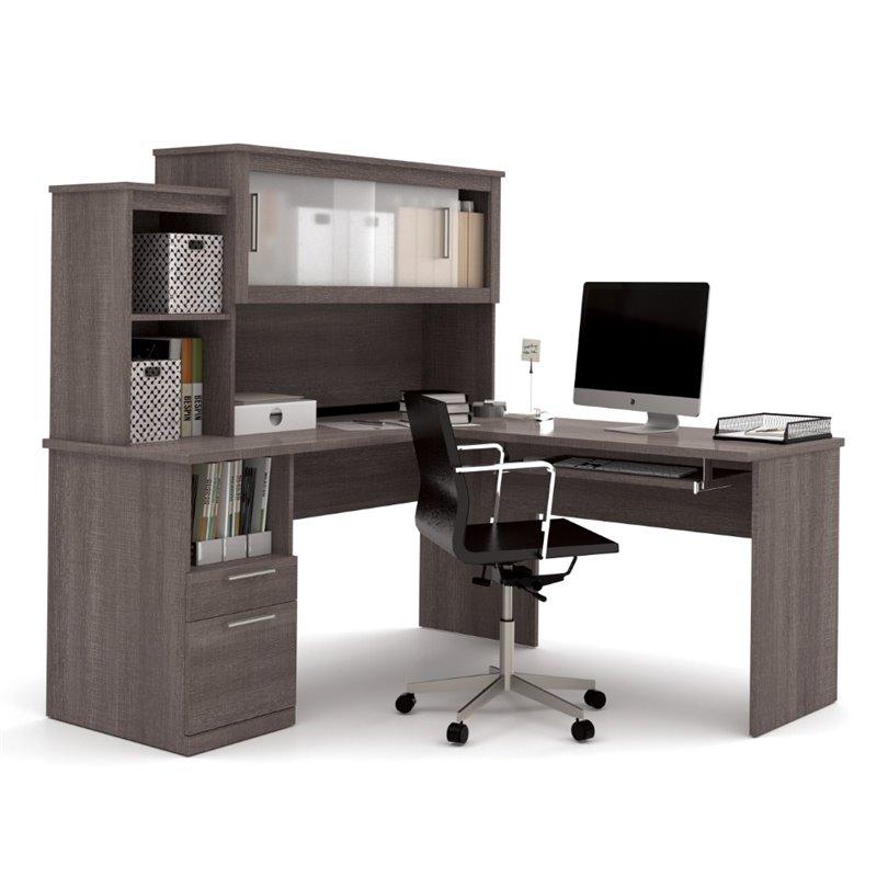 l shaped desk bestar dayton l-shaped desk in bark gray TGZWFSY