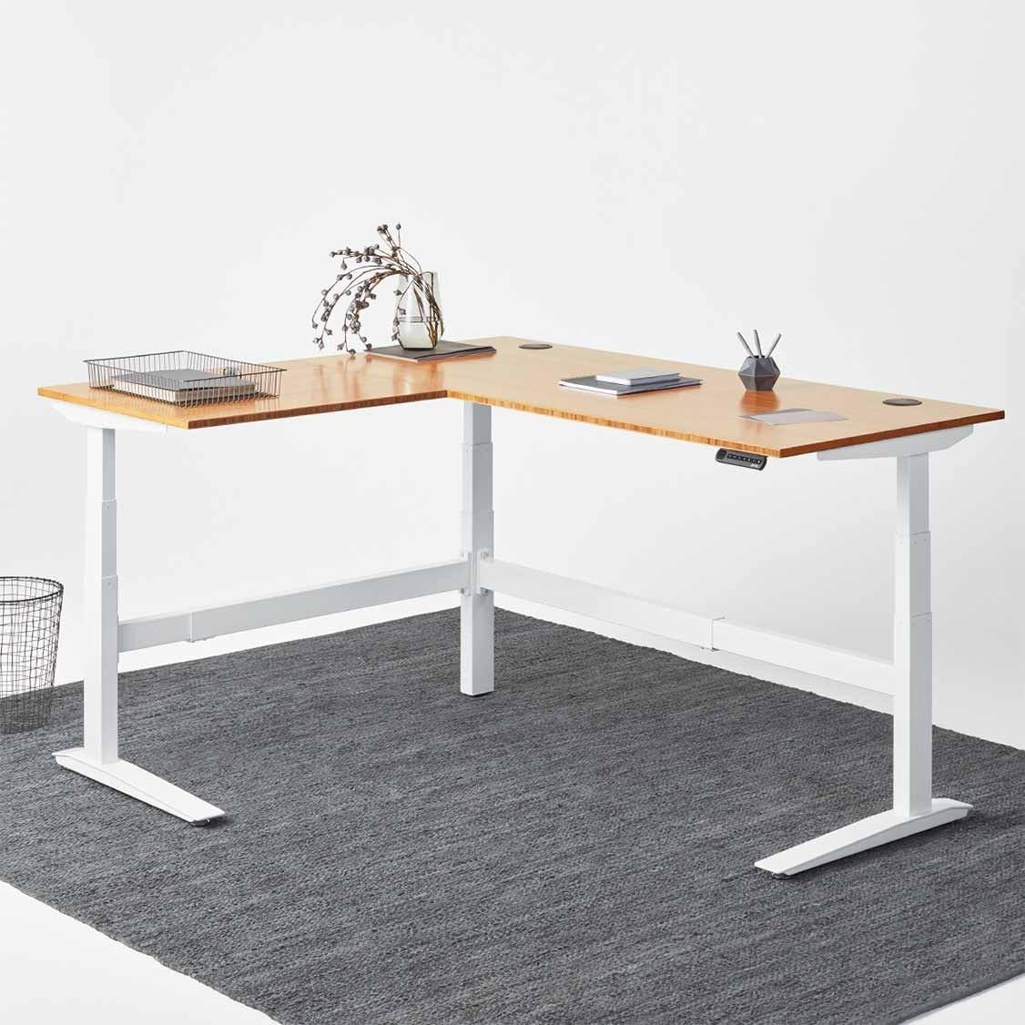 l shaped desk jarvis l-shaped bamboo standing desk ... KTSOCSF