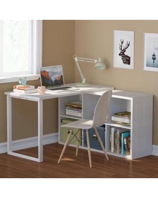 l shaped desk tribesigns l-shaped desk, modern corner computer desk with storage, wood u0026 XFPSMVN