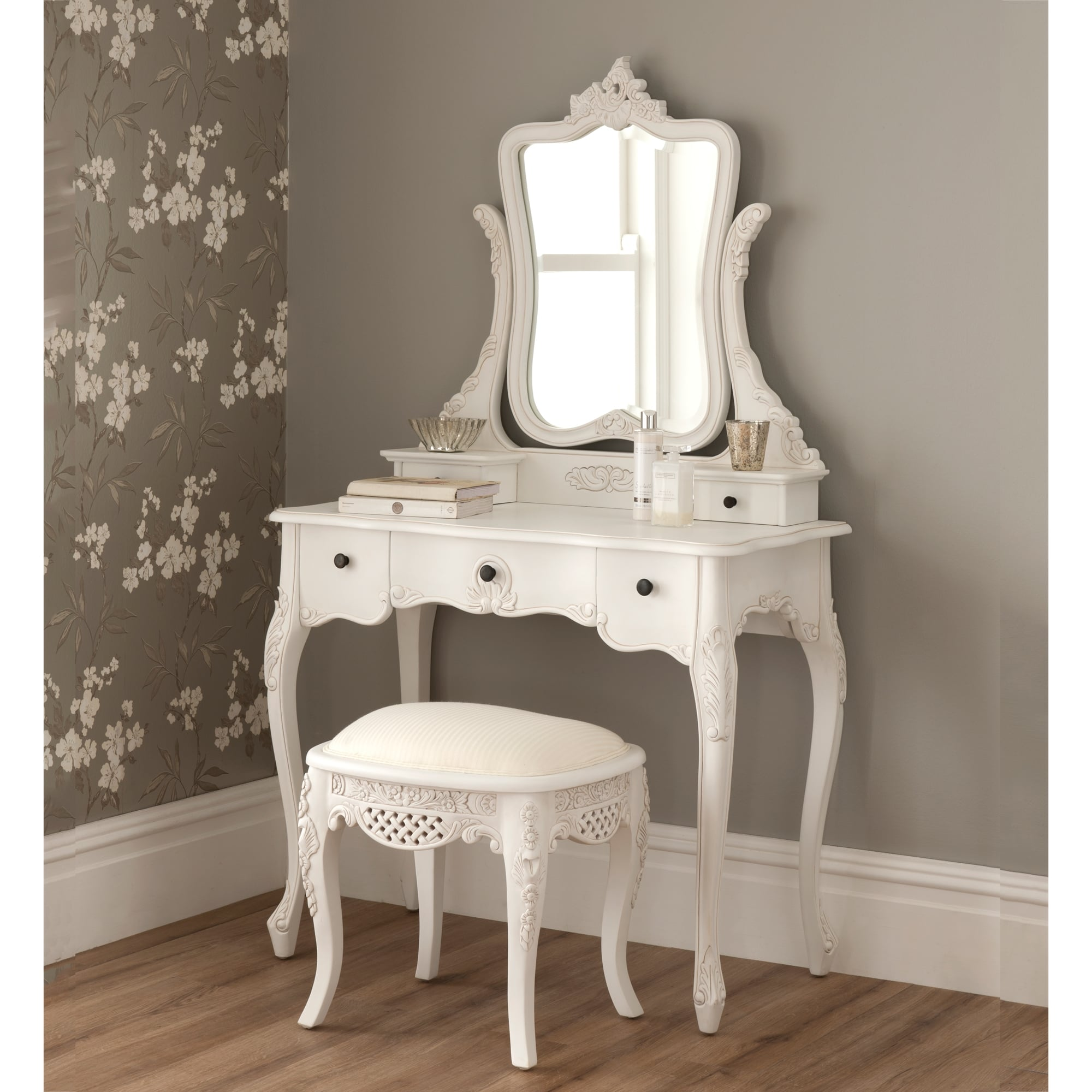 la rochelle antique french dressing table set OXLVTNC