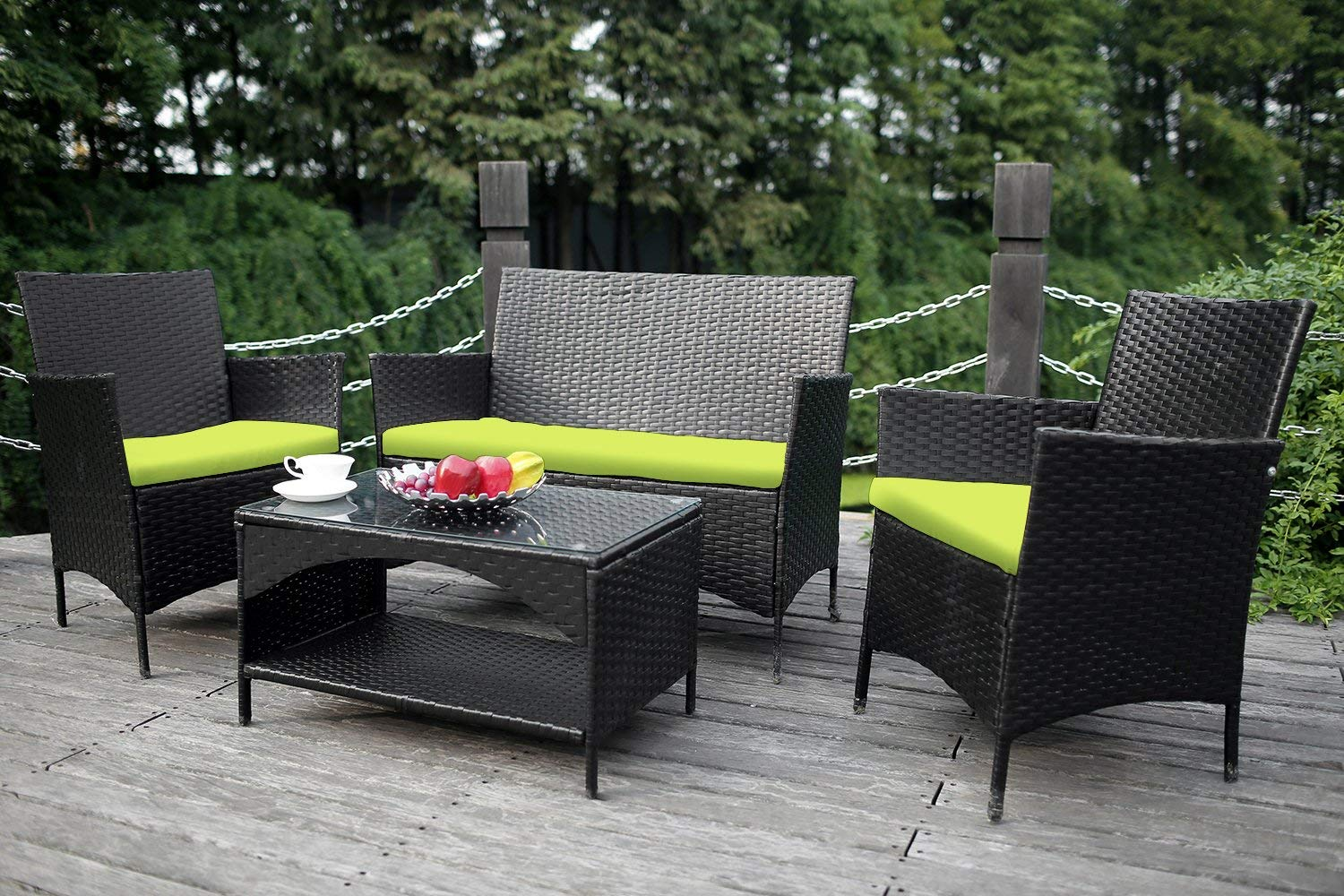 lawn furniture amazon.com: merax 4-piece outdoor pe rattan wicker sofa and chairs set GWJKAHT