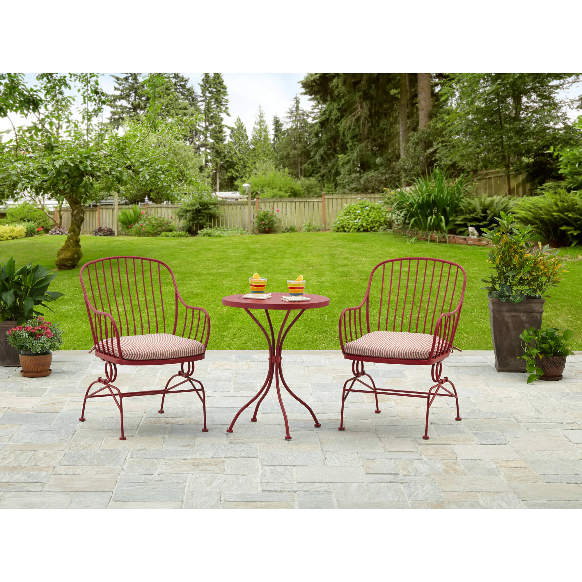 lawn furniture mainstays 3-piece metal outdoor bistro set, seats 2, red - walmart.com MCBQKGW