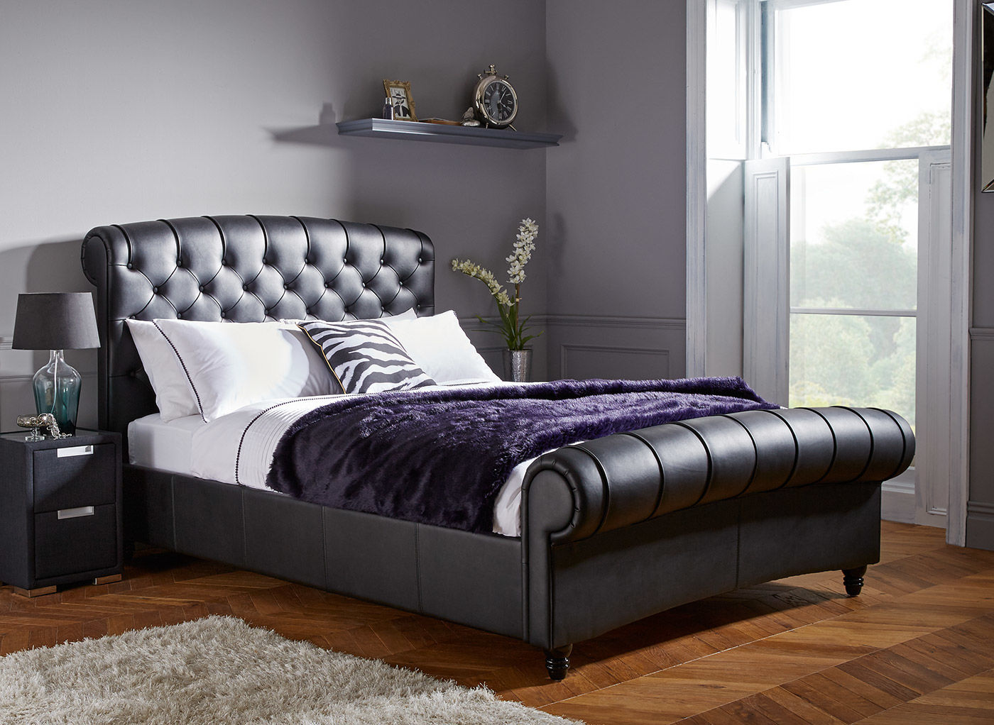 leather beds ellis black split leather bed frame | dreams KPLUXES